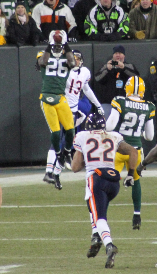 Charlie Peprah picks off the ball to end the Bears best drive. Green Bay won the game and eventually the Super Bowl.