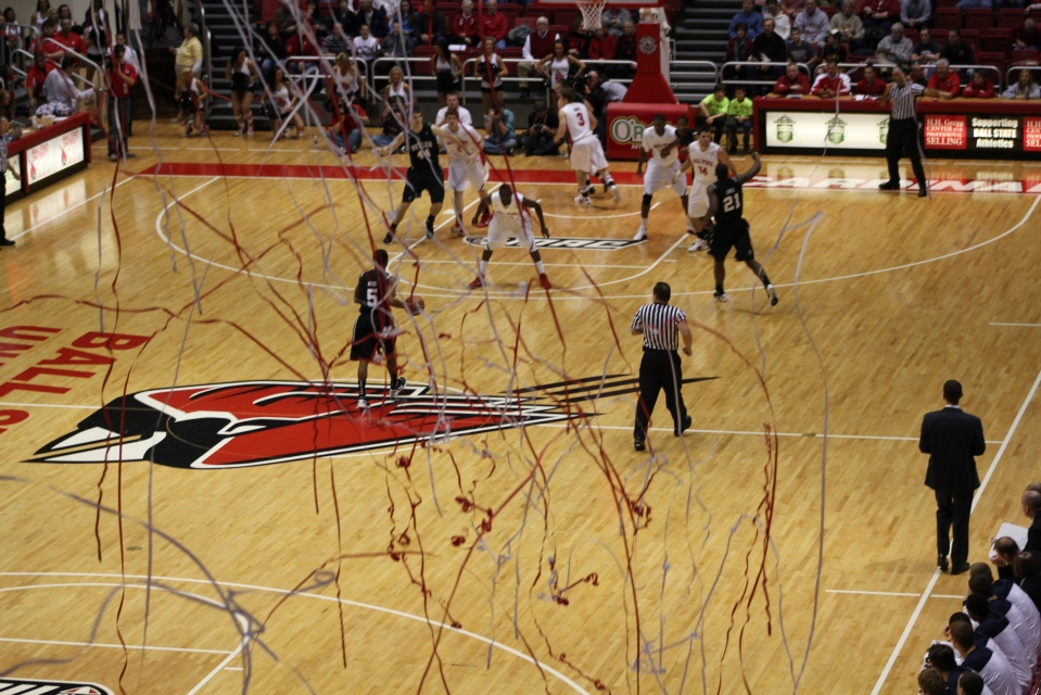 "After the first points in a Ball State home game, ""The Nest"" tosses up confetti."