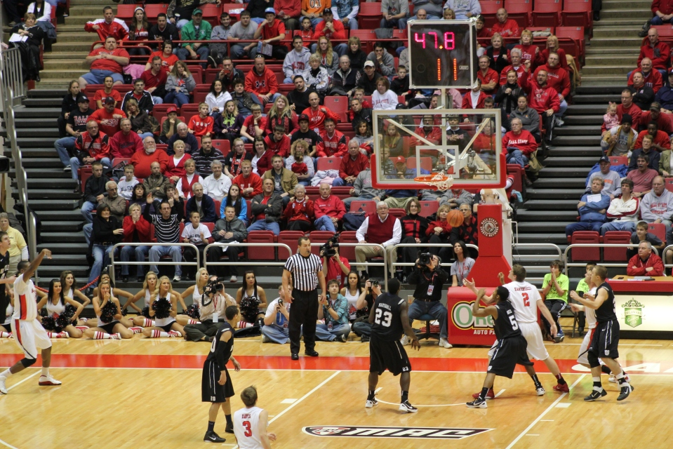 Jarrod Jones of Ball State University hits the shot that eventually gives Ball State the victory of Butler.