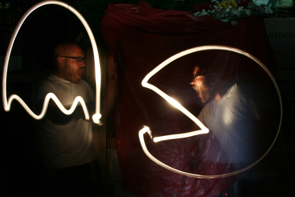 Here I play both the role of PacMan AND ghost in a light art photo.